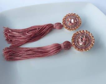 Long earrings, Rose gold earrings, pink earrings, rose earrings, tassel earrings, bridesmaid earrings, bridesmaid jewelry, crystal earrings