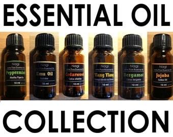 Essential Oils Set of 6 Peppermint,Emu Oil,Cedarwood,Ylang Ylang,Bergamot,Jojoba Great Gift