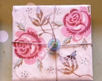 Roses and Bee ceramic coaster x4