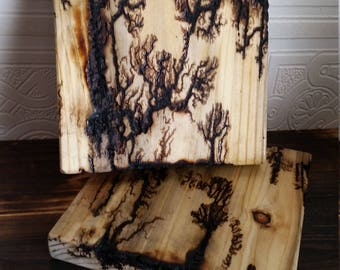 Electrocuted Trivets - Heat Resistant Wooden Pads - Pine -2