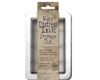 Tim Holtz® Mini Distress™ Ink Pad Storage Tin - Holds 12 Ink Pads, Scrapbooking Storage & Organization, Art and Craft Supplies
