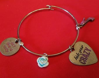 Hide Your Crazy Charm Bangle Bracelet