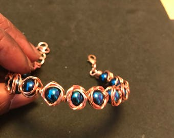 Blue Hematite Rosebud Copper Bracelet