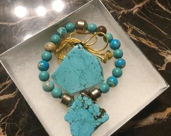 Turquoise bracelet w/matching pendant