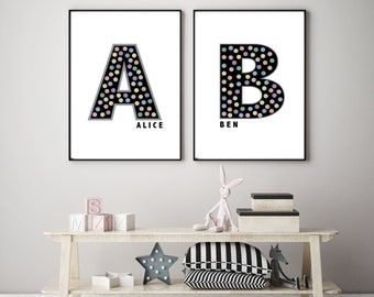 Personalised Initial & Name Print - Colourful Polka Dot - Framed Options Available