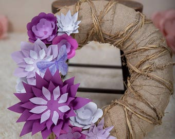 Paper Flower Burlap Wreath