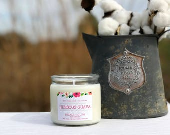 Hibiscus Guava Scented Soy Candle, 7 oz Glass Jar, 100% Soy Wax, Gifts For Her