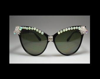 One of a kind, Black,  Sunglasses, Bling, Rhinestone