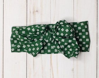 Geometric Green headwrap, baby headwrap, toddler headwrap, green baby headband, floral, cotton, bow, toddler headband