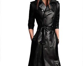 Custom Leather Trench Coat Women, Genuine Leather Jacket, Long Leather Jacket Woman, Ladies Cowhide Trench Coat, Leather Trench Coat Jacket
