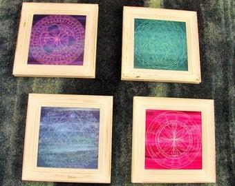 "4 pc custom, handpainted mandala set (distressed frames = 18""x18"") - set includes: green, blue, purple & pink. Original art wall decor"