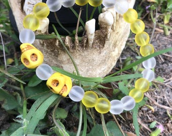 Yellow and clear frosted glass and stone bracelet