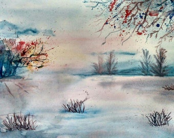 Watercolor painting of nature