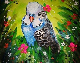 Tropical blue parakeet painting