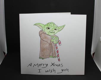 Christmas card wishes Star Wars/Yoda-Merry Xmas wishes card