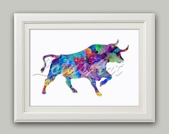 Bull Watercolor Print Bull Wall Art Bull Nursery Decor Bull Wall Decor Kids Room Decor Kids Wall Art Nursery Art Bull Poster Bull Lovers
