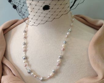 "Handmade freshwater pearl necklace, grey, white and pale pink, 20"" long"