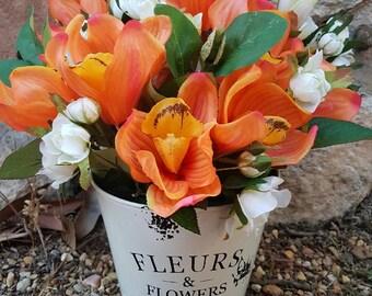 Silk Flower Arrangement - Orange Orchids