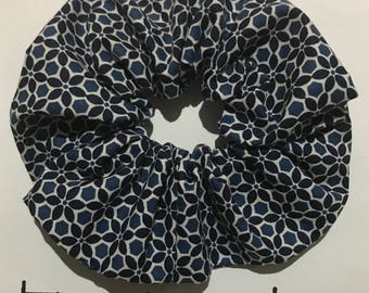 Navy Blue Flower Scrunchie