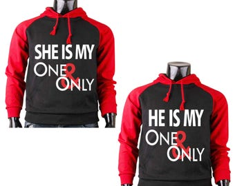 Two Color Hoodies for Couple She Is My One and Only He Is My One and Only Couples Cute Matching Love Couples Goal Black-Red Raglan Hoodies
