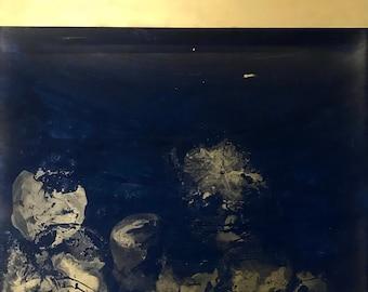 Moonocean acrylic painting blue gold 120x100 cm