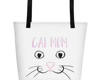 Cat Mom Beach Bag, Millennial Pink Cat Nose, Crazy Cat Lady, Cat Lover Gift, I Love Cats, Fun Cat Drawing, Kawaii Cats
