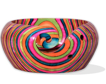 Supreme Handcrafted Rainbow Wooden Yarn Bowl 6 x 3 Inches with Spectacular Colors and Mesmerizing Design. Takes Months for Artist to Create