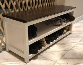 walnut and oak Shoe storage bench and shelf