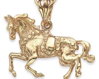 SOLID 9ct Gold Circus Fairground HORSE Pendant (4.9 grams UK Hallmarked)