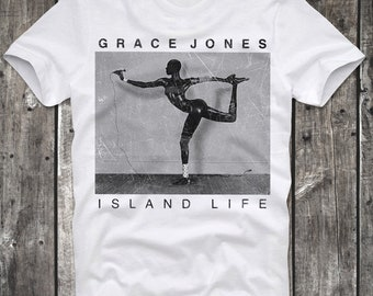 T-Shirt Grace Jones Island Life Cover Black White Distressed Retro Vintage 80s cult