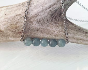 Aquamarine Mala Bead Necklace | Minimalist Necklace | Gemstone Necklace