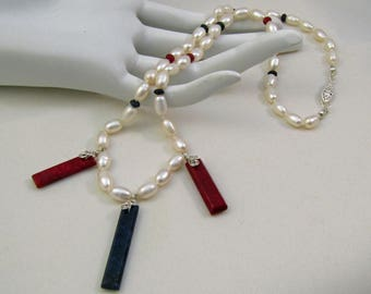 Sapphire, Ruby with Freshwater Pearl Necklace