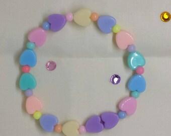 Pastel Rainbow Heart Bracelet