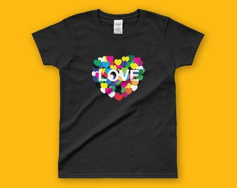 LOVES Ladies' T-shirt, HEART SHAPES tshirt, Lady, fashion t-shirt