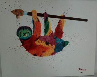 """Canvas """"the little sloth hanging"""""""