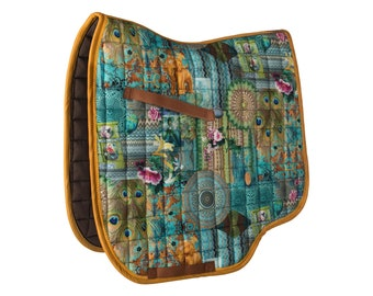 Saddle rack ' lucky ' with unusual pressure-turquoise, yellow, blue-by Hucke-warmblood/dressage-anatomic fit-Cotton