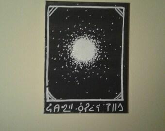 Strange Withe Hole Drawing on Black canvas