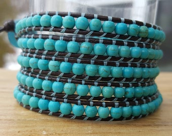Wrap bracelet 5 rounds of genuine turquoise