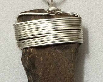 Sterling Silver Necklace with Petrified Wood Pendant Hand Wrapped, Made in USA