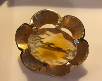 Signed exquisite citrine stone brooch