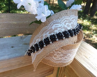 XL Black and silver beaded bracelet