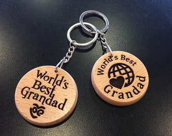 World's Best Grandad Grandma Daughter Sister Brother Son Engraved Keyring Gift