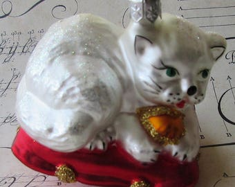 Vintage Christmas Ornament Cat On Pillow Hand Blown Glass Made In Poland X-1