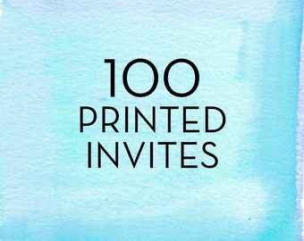 100, 5x7 Single Sided Invitations with White Envelopes *Professionally Printed