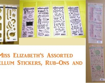 Miss Elizabeth's Assorted Craft Kit – Vellum Stickers, Rub-Ons and Templates CASE of 132
