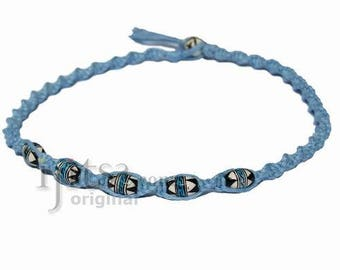 Sky blue twisted hemp necklace with Peruvian Ceramic Beads