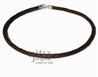 6mm thick Braided Dark brown leather necklace rhodium  silver plate clasp