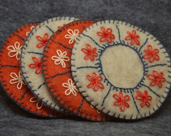 Set of four felt drink coasters