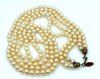 Signed Miriam Haskell Double Strand Faux Pearls Necklace