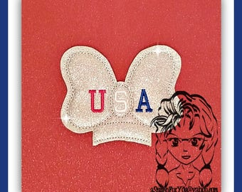 USA BoW Center (Add On ~ 1 Pc) Mr Miss Mouse Ears Headband ~ In the Hoop ~ Downloadable DiGiTaL Machine Embroidery Design by Carrie